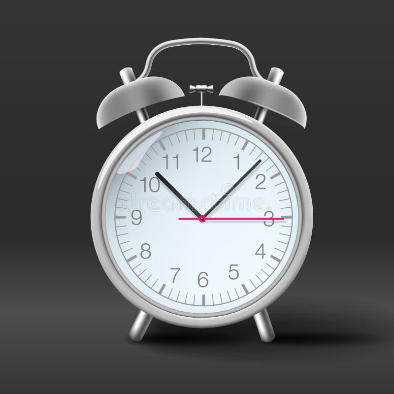 Vintage alarm clock on grey background. Vector Eps10 image royalty free illustration