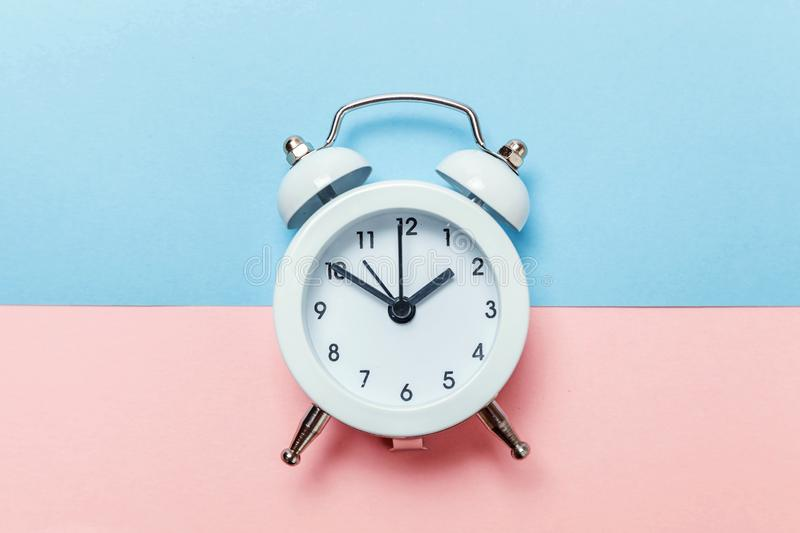 Vintage Alarm Clock Isolated On Blue And Pink Pastel ...