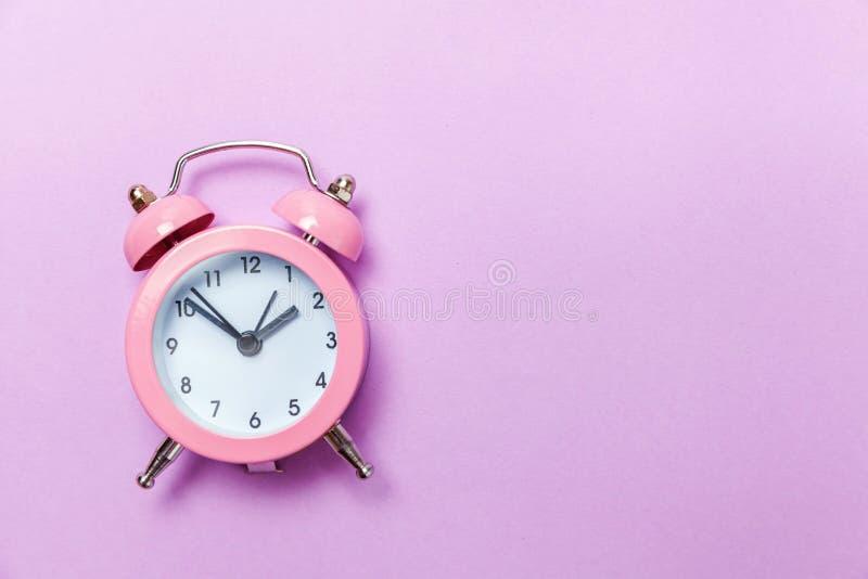Vintage Alarm Clock Isolated On Purple Violet Pastel ...