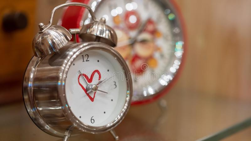 Vintage Alarm Clock In Morning Wake Up stock photos