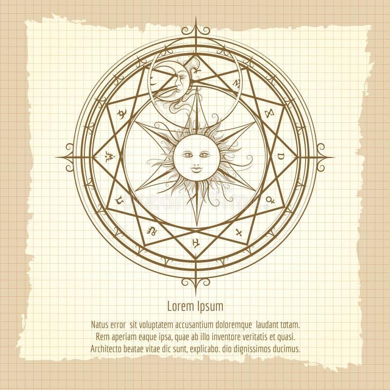 Vintage alchemy magic circle stock illustration