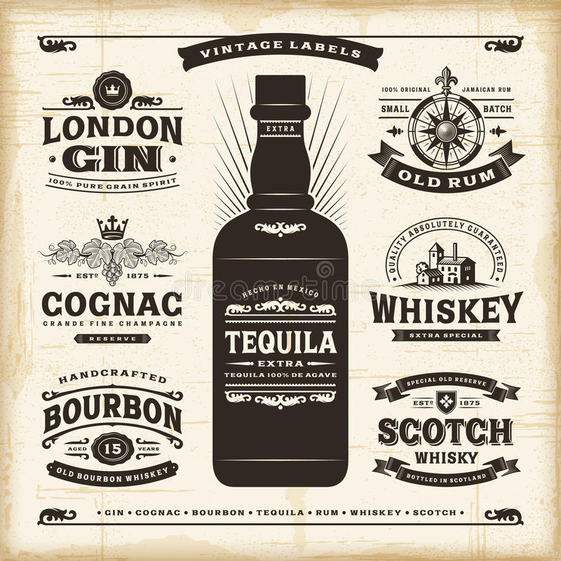 Vintage alcohol labels collection. A set of fully editable vintage alcohol labels in woodcut style. EPS10 vector illustration