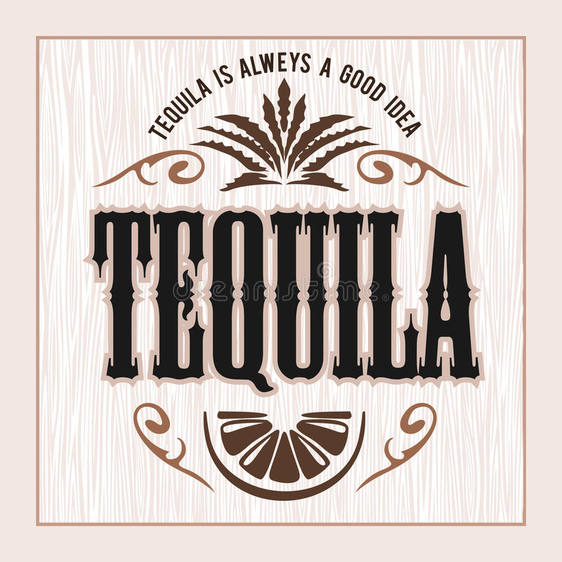 Free Vintage Alcohol Tequila Drink Vector Bottle Label. Sticker Or Poster For Tequila Tipple Stock Photo - 96072870