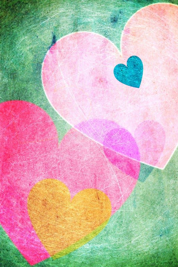 Vintage alegre do fundo dos corações ilustração do vetor