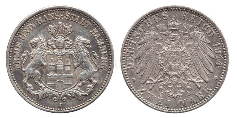 Vintage alemán 1914 de la moneda de plata de la marca de Hamburgo 2 del imperio fotografía de archivo libre de regalías