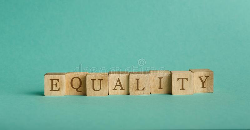 Vintage alphabet blocks spelling out word Equality stock photo