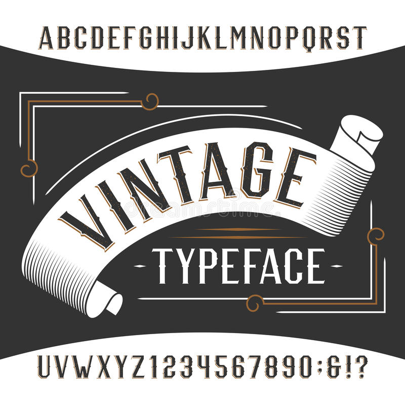 Vintage alphabet font. Rust effect letters and numbers. Retro vector typeface for your design royalty free illustration