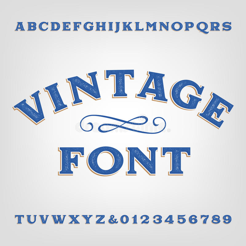 Vintage alphabet font. Scratched type letters and numbers. Vector typeset for labels, titles, posters etc stock illustration