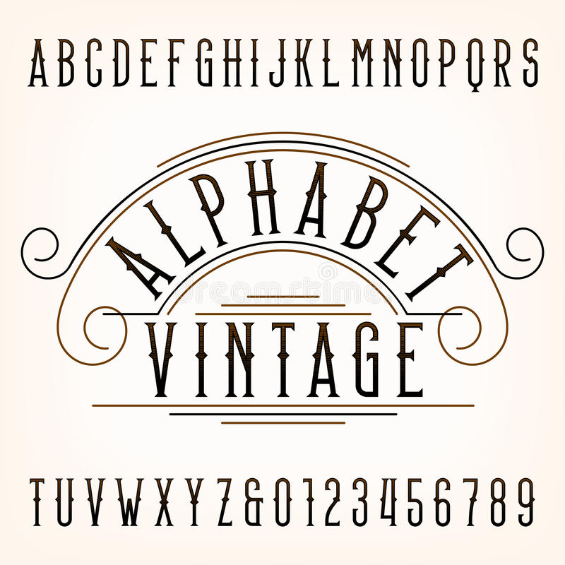 Vintage alphabet font. Thin type letters and numbers. royalty free illustration