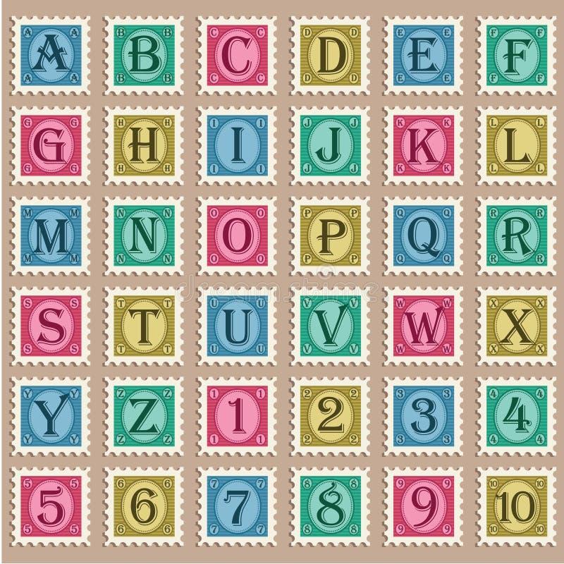 Vintage Alphabet Stamps royalty free illustration