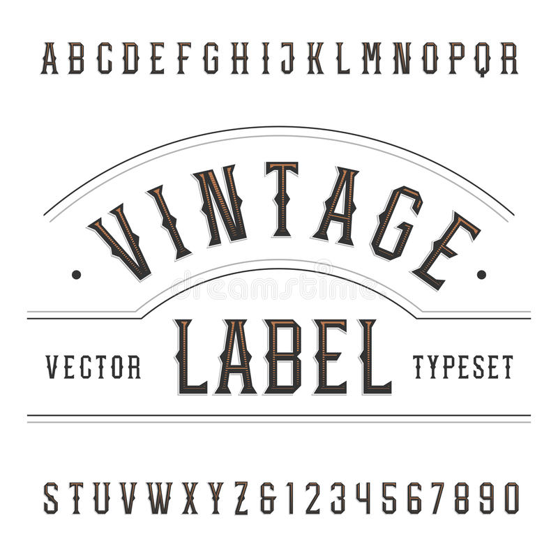 Vintage alphabet vector font. Type letters and numbers in western style. Vector typography for labels, headlines, posters etc royalty free illustration