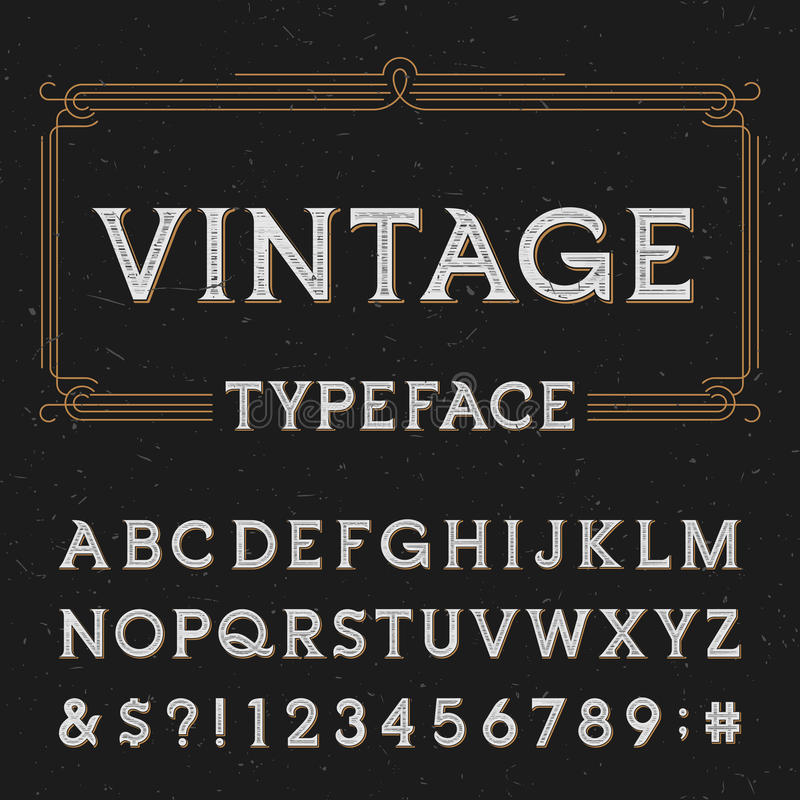 Free Vintage Alphabet Vector Font With Distressed Overlay Texture. Royalty Free Stock Photo - 62130725