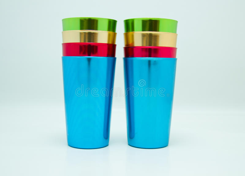 Vintage aluminum tumblers royalty free stock photos