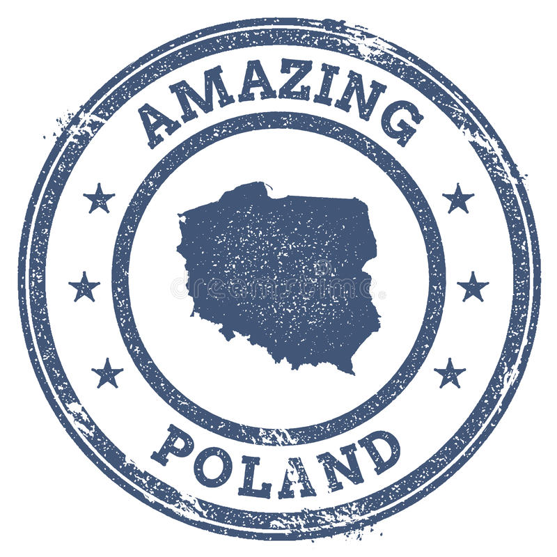 Vintage Amazing Poland travel stamp with map. vector illustration