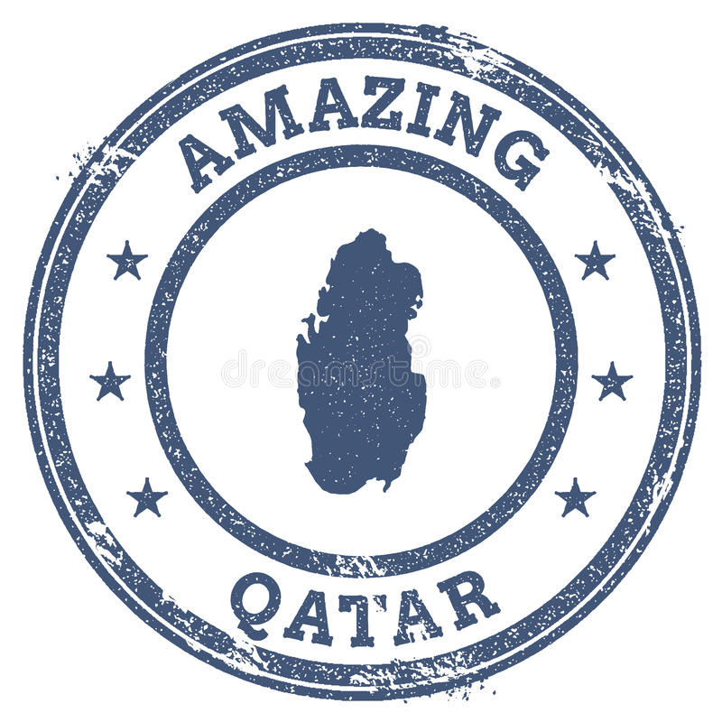 Vintage Amazing Qatar Travel Stamp With Map Stock Vector