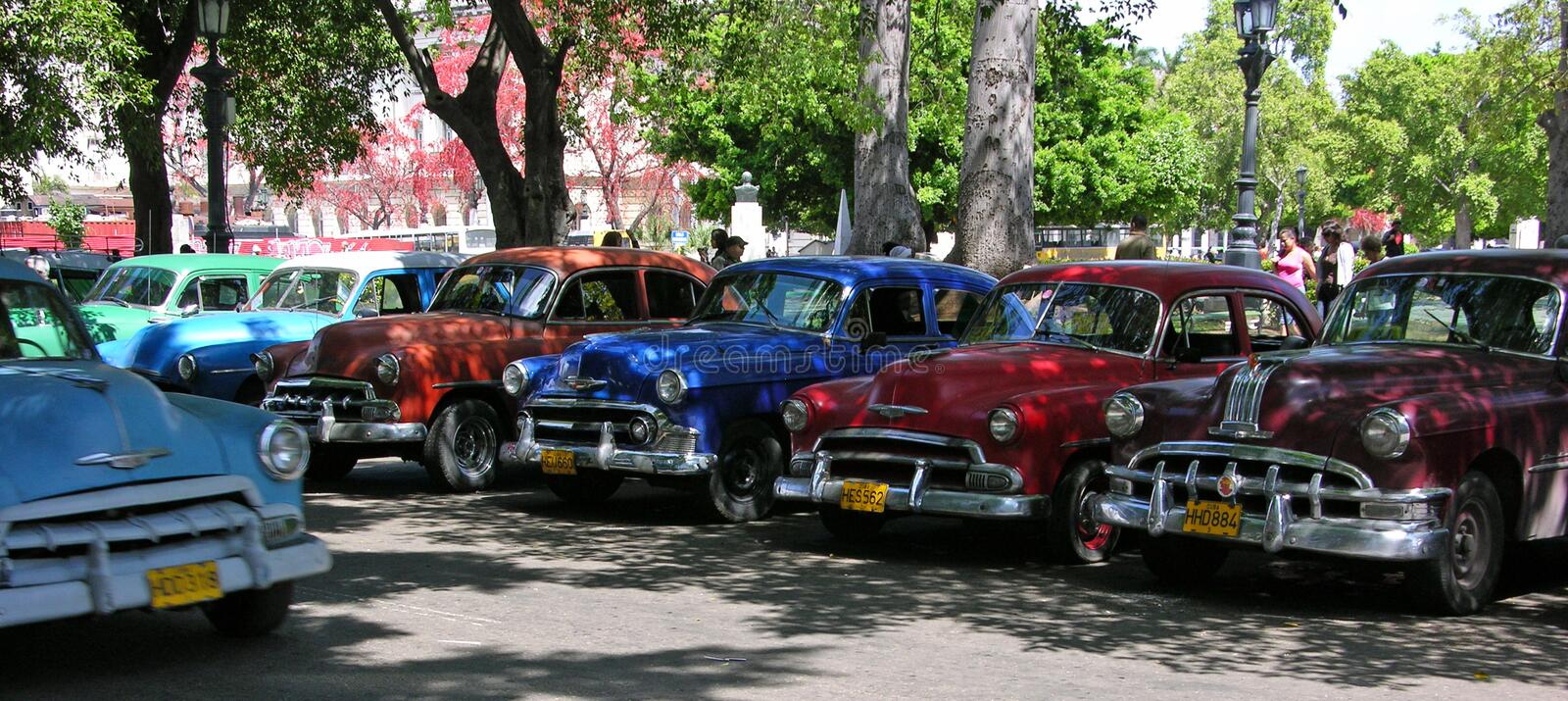 Vintage America cars parked up in Havana, Cuba royalty free stock images