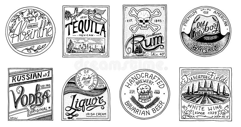 Vintage American badge. Absinthe Tequila Vodka Liqueur Rum Wine Strong whiskey Beer. Alcohol Label with calligraphic stock illustration
