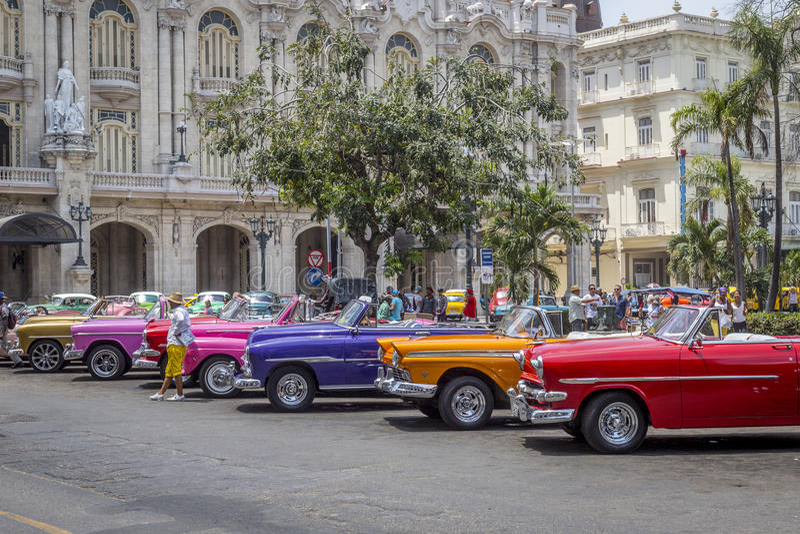 Vintage American cars near Central Park, Havana, Cuba #6 royalty free stock photo