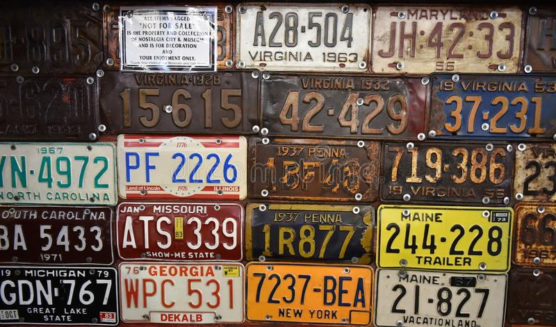 Download Vintage American Cars Number Plates Editorial Photography - Image of transportation plates 79893972 : antique number plates - pezcame.com
