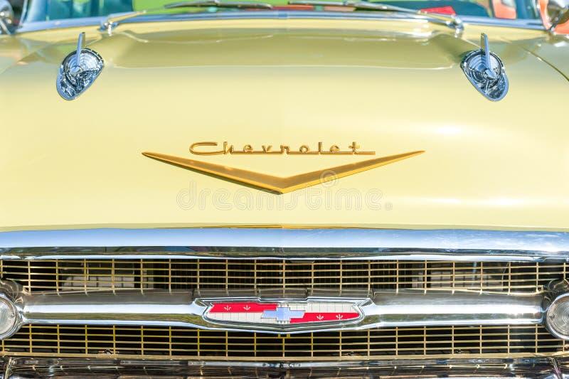 Vintage American Chevrolet grille closeup royalty-vrije stock foto