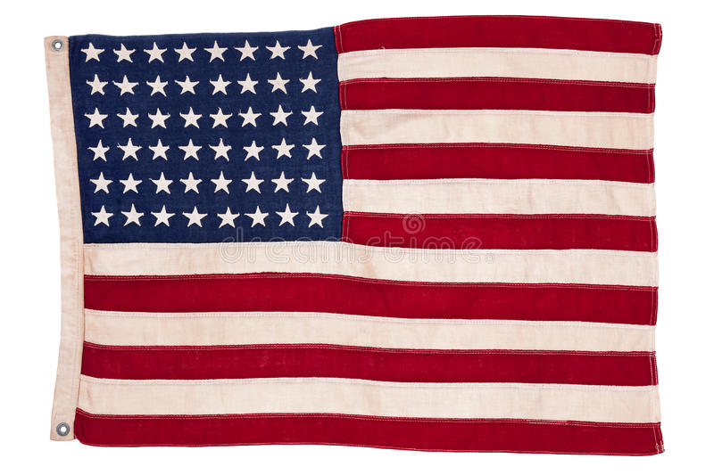 Vintage American flag. A 48 state vintage American flag isolated on white stock photo