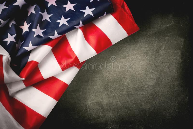 Vintage American flag on a chalkboard with space for text royalty free stock photos