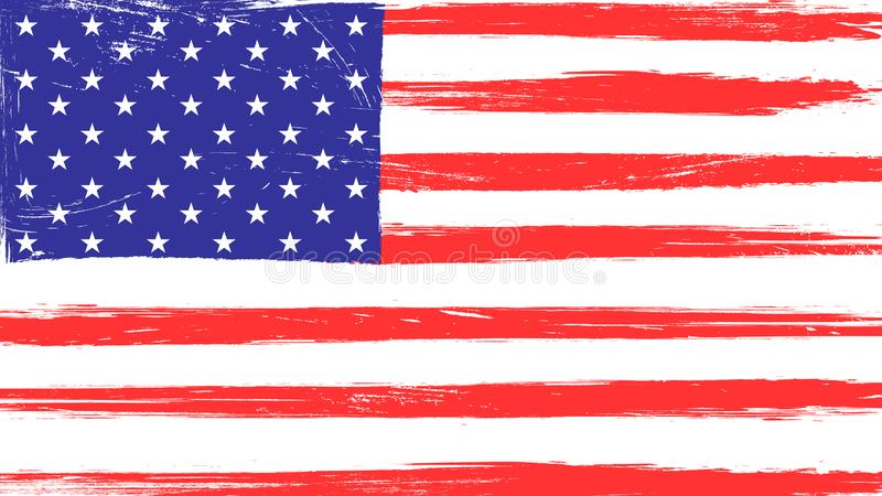 Vintage American flag with grunge texture vector illustration