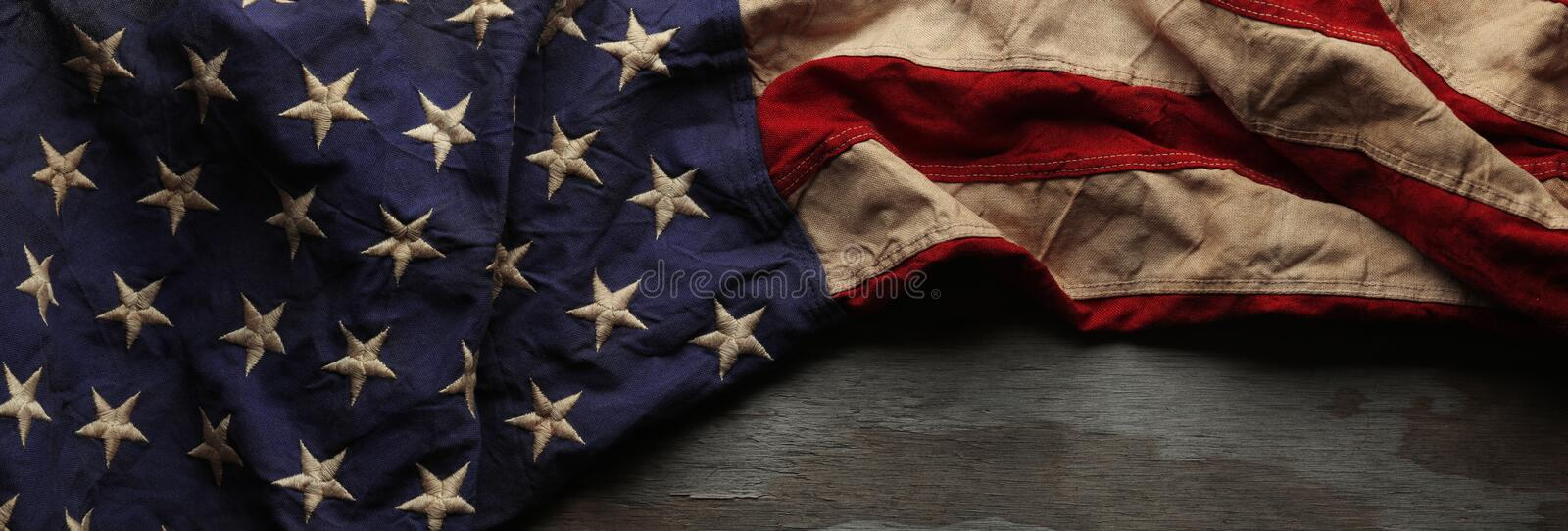 Vintage American flag for Memorial day or Veteran`s day background royalty free stock image