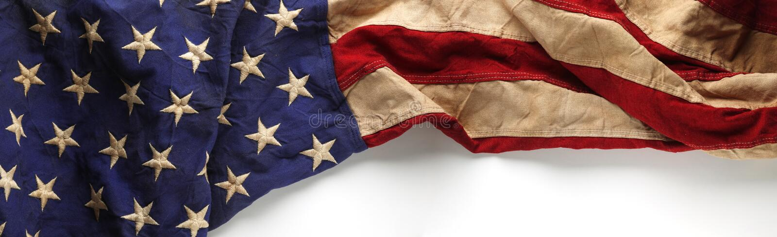 Vintage American flag for Memorial day or Veteran`s day background. Vintage red, white, and blue American flag for Memorial day or Veteran`s day background stock image
