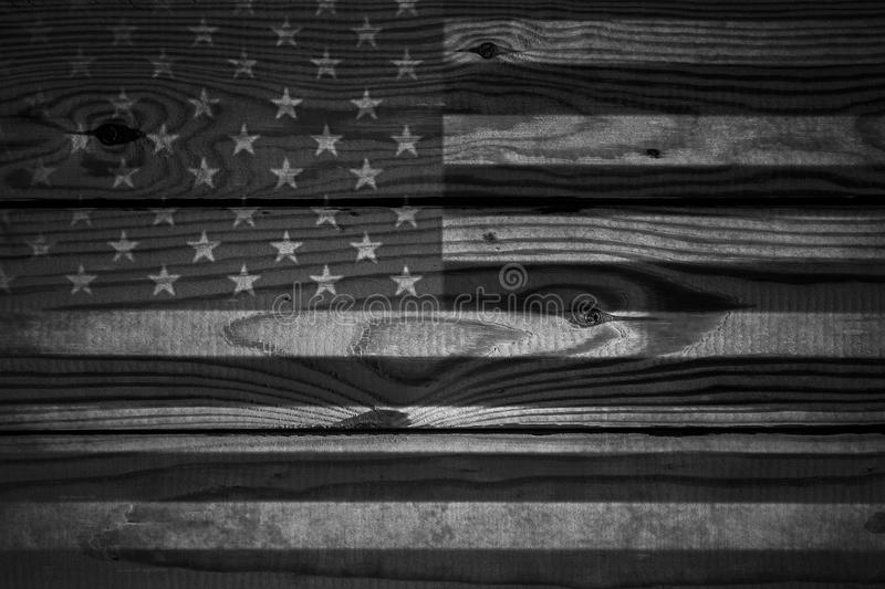 Download Vintage American Flag Painted On An Aged Weathered Rustic Wooden Background Stock Photo
