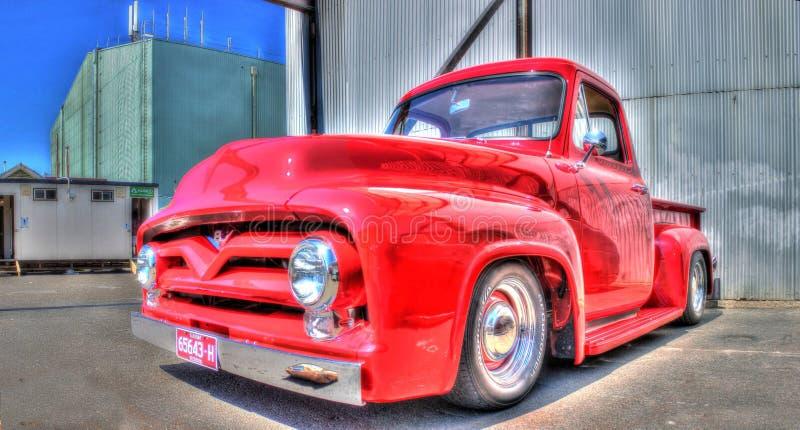 Vintage American Ford pickup truck. Vintage American red Ford pickup truck on display at a car show in Melbourne, Australia stock photos