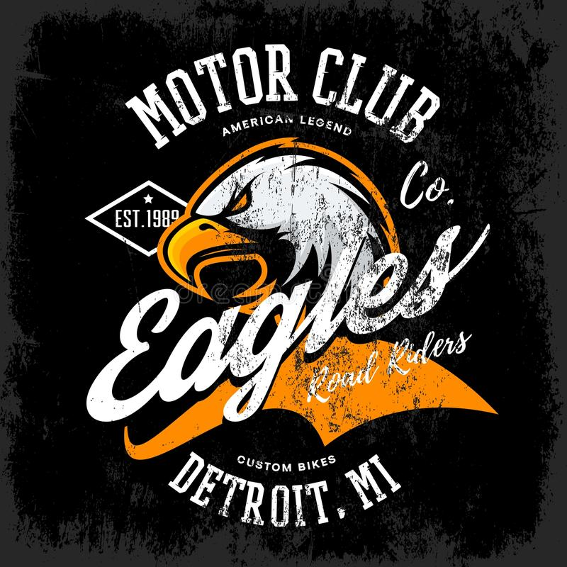 Vintage American furious eagle custom bike motor club tee print vector design isolated on dark background. stock images