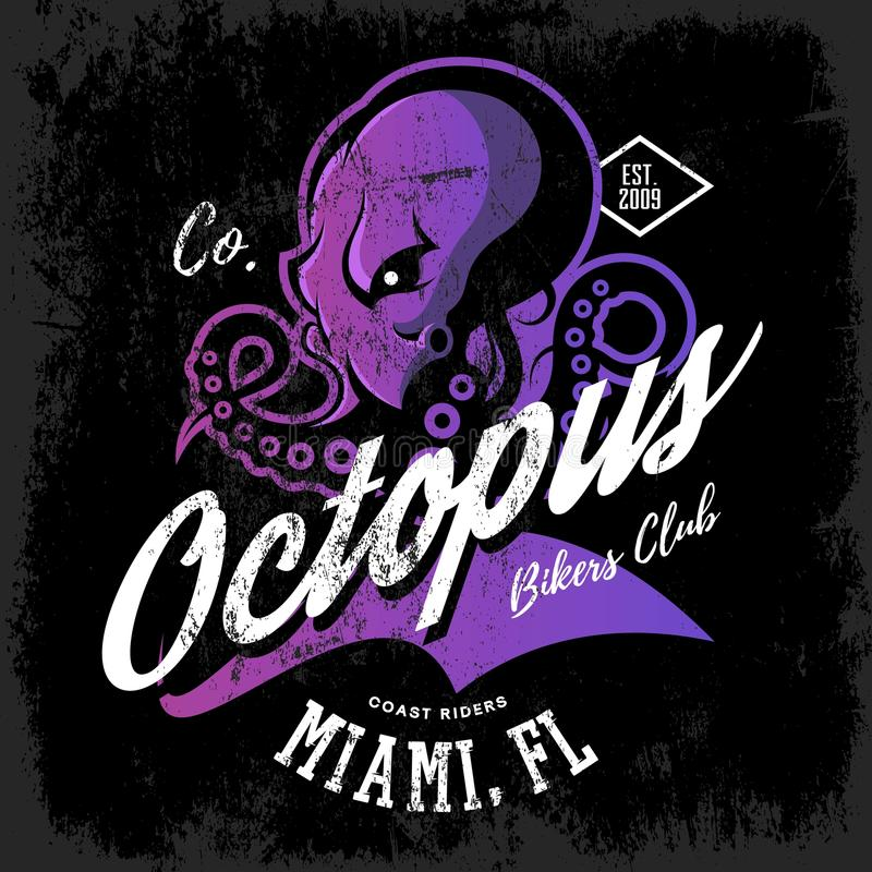 Vintage American furious octopus bikers club tee print vector design on dark background. royalty free illustration