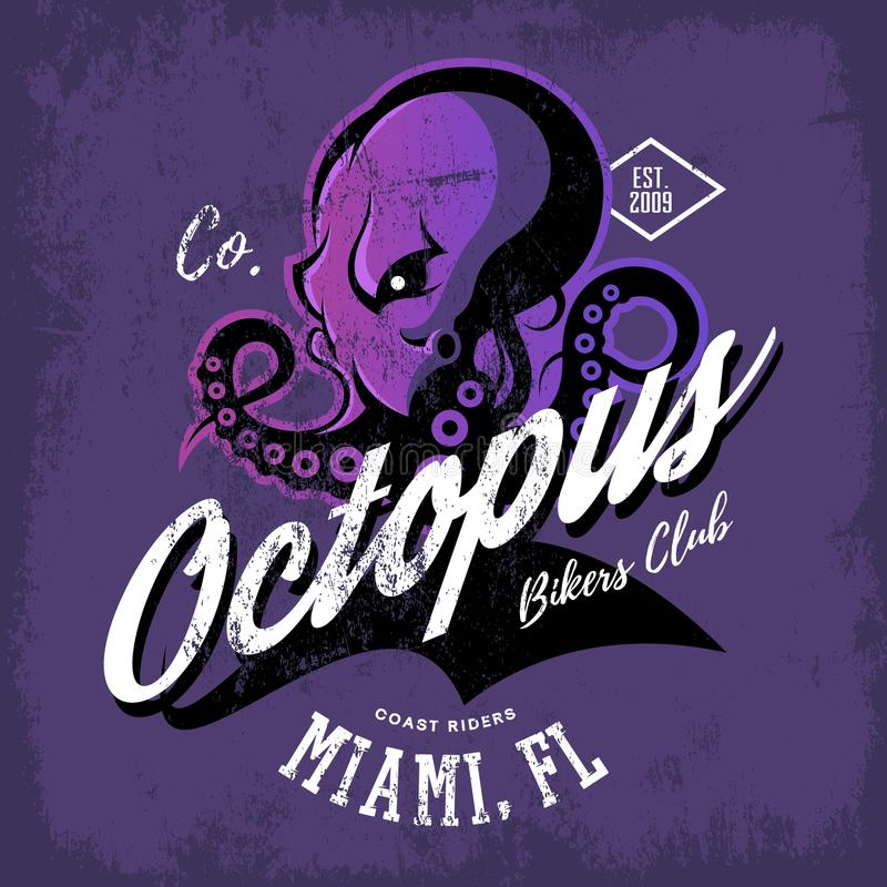 Vintage American furious octopus bikers club tee print vector design isolated on purple background. stock illustration
