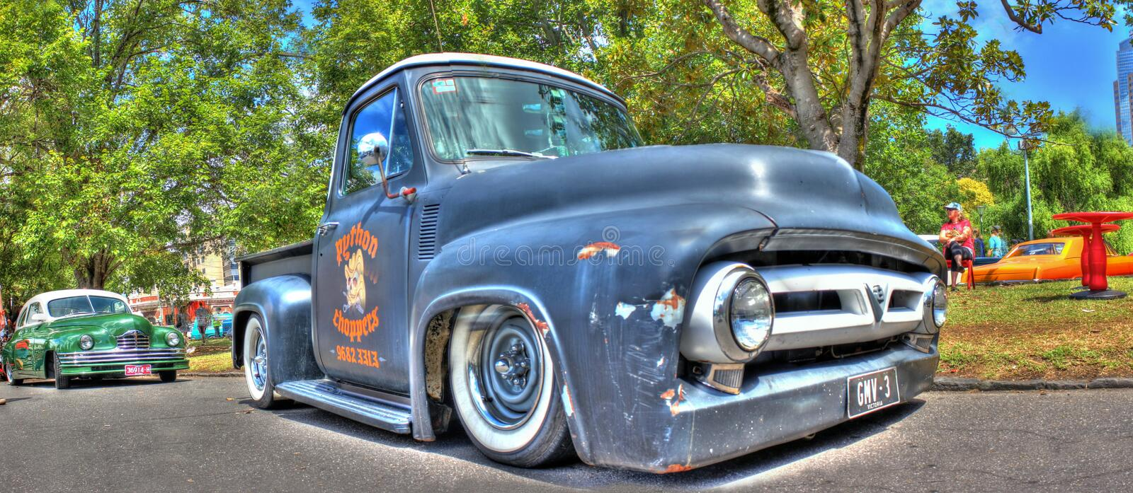 Vintage American General Motors pick up truck. Vintage American GM black pick-up truck on display at the 2016 Victorian Hot Rod Show , held at the Royal stock images