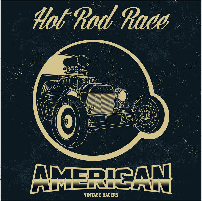 Vintage American hot rod old grunge effect tee print vector design illustration. Premium quality superior retro car logo. Concept. t-shirt emblem stock illustration