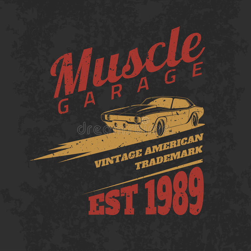 Vintage american muscle car for printing with grunge texture. vector illustration