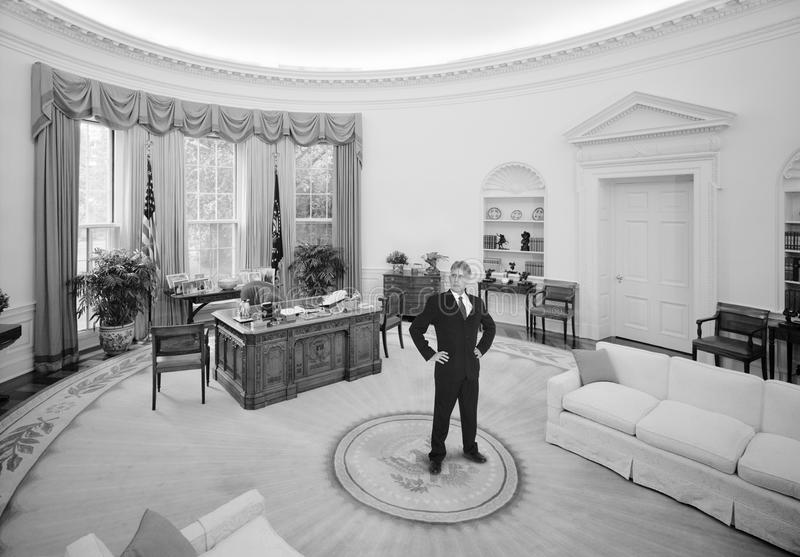 Vintage American President, Oval Office, Politician. Vintage retro photo of a fictional American president politician leader in the Oval Office located in the stock photo