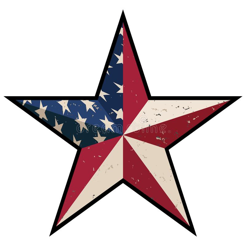 American Patriotic Barn Star with Antique Stars and Stripes Isolated Vector Illustration vector illustration