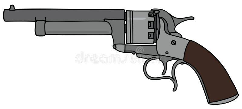 Vintage american revolver. Hand drawing of a vintage revolver royalty free illustration
