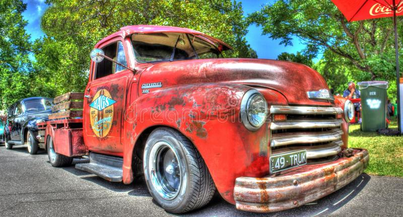 Vintage American 1940s Chevy pickup truck. Vintage rusty 1949 American Chevy 3100 pickup truck on display at the 2017 Victorian Hot Rods and Cool Rides a car stock images