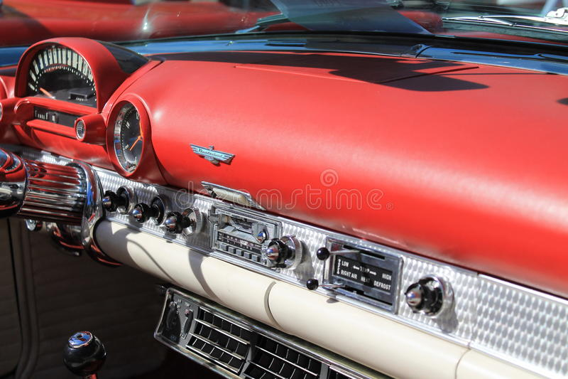 Vintage american sports car interior royalty free stock photo