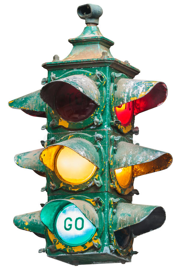 Vintage American traffic light isolated on white royalty free stock photography