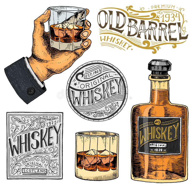 Vintage American whiskey badge. Alcoholic Label with calligraphic elements. Hand drawn engraved sketch lettering for t royalty free illustration