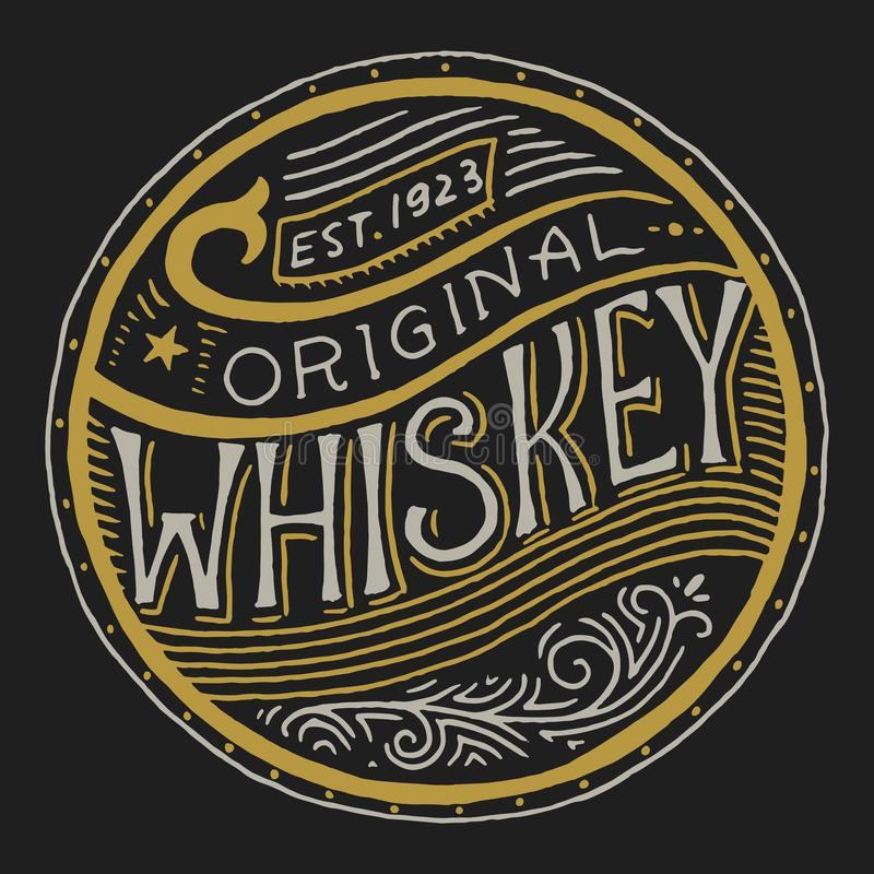 Vintage American whiskey badge. Alcoholic Label with calligraphic elements. Hand drawn engraved sketch lettering for t vector illustration