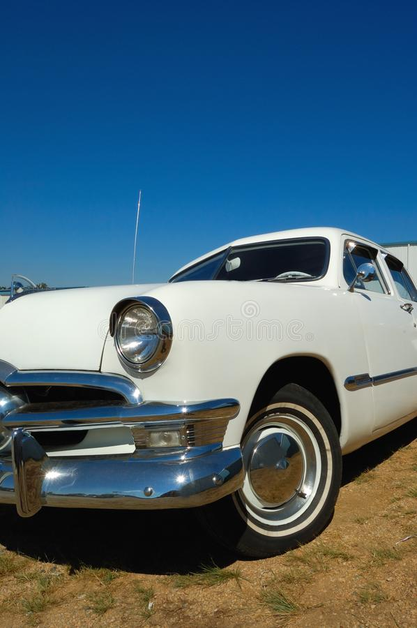 Vintage American white car royalty free stock photography