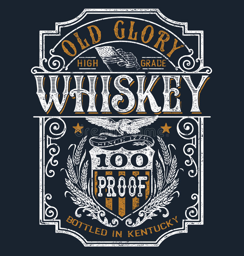 Free Vintage Americana Whiskey Label T-shirt Graphic Stock Photos - 68950113