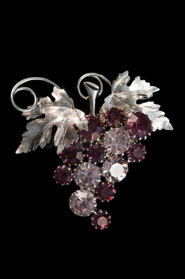 Vintage amethyst grapes and vine brooch royalty free stock image