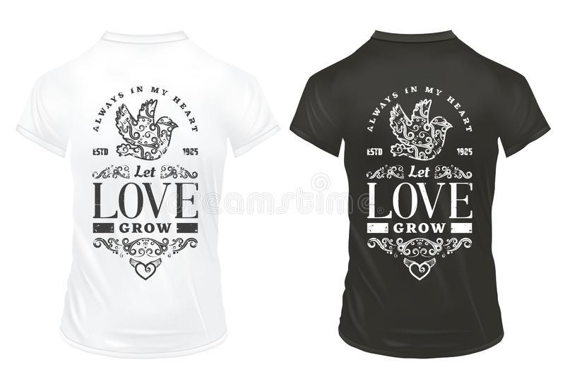 Vintage Amorous Prints Template. On shirts with romantic inscriptions elegant decor elements ornamental pigeon heart isolated vector illustration stock illustration