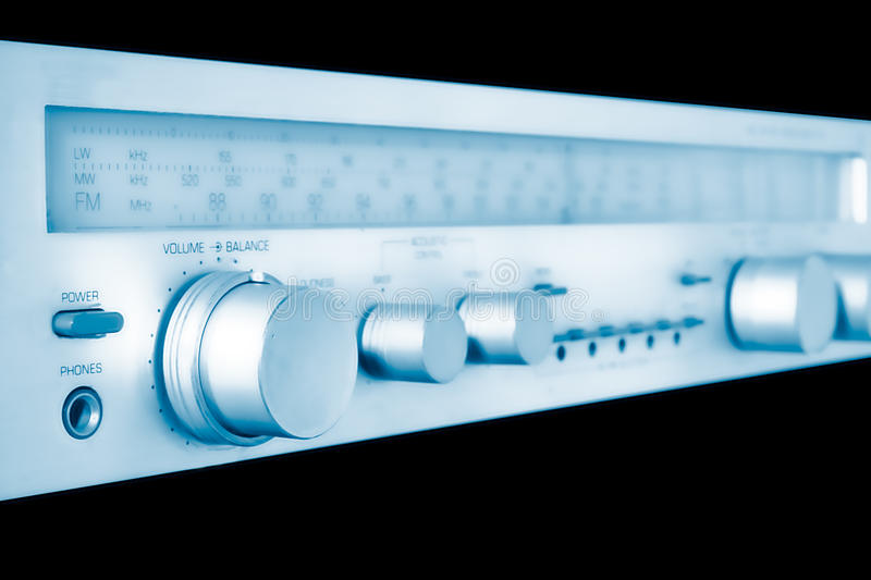 Vintage Amplifier And Tuner In Blue Stock Photography